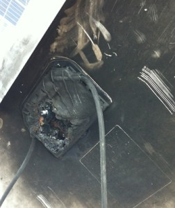 junction box burned | source: http://www.gulfsouthsolar.com
